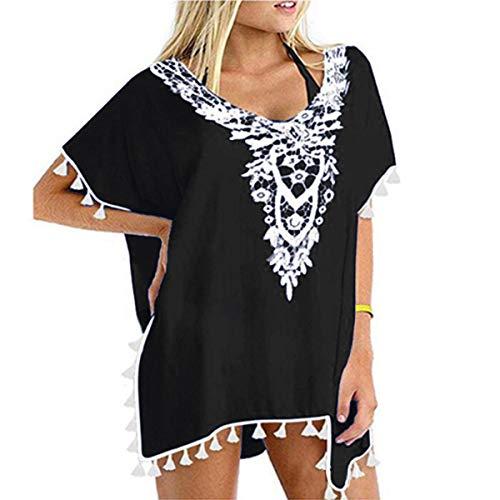 YONHEE Damen Sommer Strandkleid - Floral Kaftan Badeanzug Cover Up Chiffon Quaste Sommer Casual Badebekleidung Bikini Beach Dress (Black)