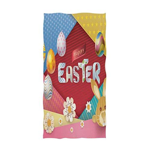 Bert-Collins Toallas de Mano extragrandes de Conejito de Conejito de Dibujos Animados, Vintage Huevo de Pascua Toallas de Ducha de baño Toalla de Mano Toallas absorbentes (40x70cm)