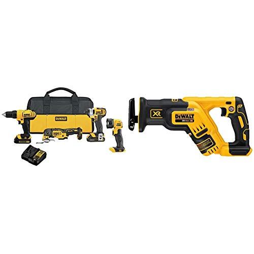 DEWALT 20V MAX Cordless Drill Combo Kit, 4-Tool (DCK444C2) with DEWALT 20V MAX XR Reciprocating Saw, Compact, Tool Only (DCS367B)