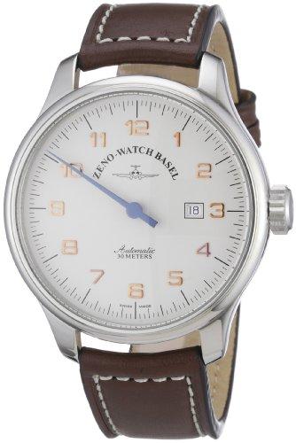 Zeno Watch Basel 8554UNO-pol-f2 - Reloj analógico automático para Hombre con Correa de Piel, Color marrón