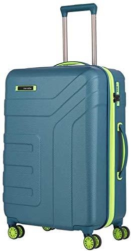 travelite 4-Rad Koffer Größe M mit Dehnfalte + TSA Schloss, Gepäck Serie VECTOR: Robuster Hartschalen Trolley in stylischen Farben, 072048-22, 70 cm, 79 Liter (erweiterbar auf 91 Liter), petrol/limone