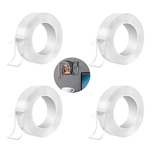 INTVN 4pcs Cinta Doble Cara,Nano-no Rastro Lavable Doble Cara Transparente Adhesivo,Doblecara Cintadoble Cara (2 M)