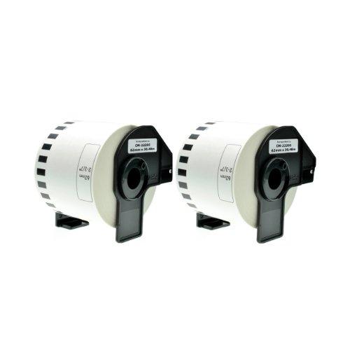 Logic-Seek 2X Endlos-Etikett kompatibel für Brother DK22205 62mm x 30,48m P-Touch QL-1050 1060N 500 550 560 570 580 700 500 A BS BW 560 VP YX 580N 650TD 710W 720NW