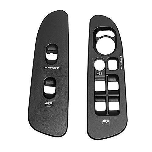 BASIKER Driver & Passenger Black Door Window Switch Panel Bezel for 2002-2010 Dodge Ram 1500 2500 3500 Front Right & Left Window Button Border Trim