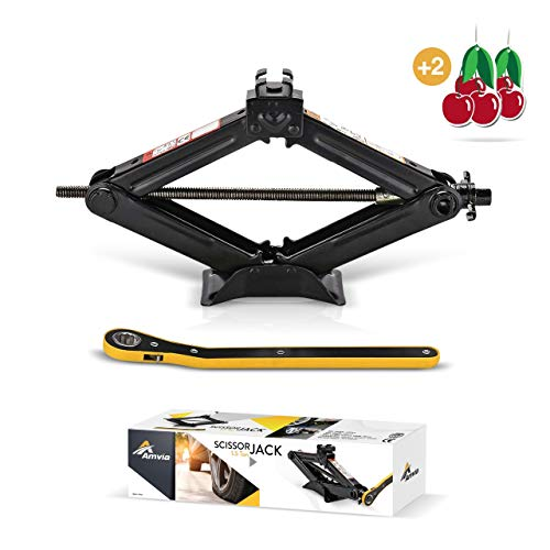 Amvia Scissor Jack for Car - 1.5 Ton (3,300 lbs) | Car Jack Kit - Tire Jack | Portable, Ideal for SUV and Auto - Smart Mechanism with Ratchet | Heavy Duty Material