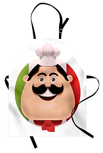 Lunarable Italian Flag Apron, Cartoon Chef Mustache Cuisine European Pizza Pasta Yummy Design, Unisex Kitchen Bib with Adjustable Neck for Cooking Gardening, Adult Size, Peach Red