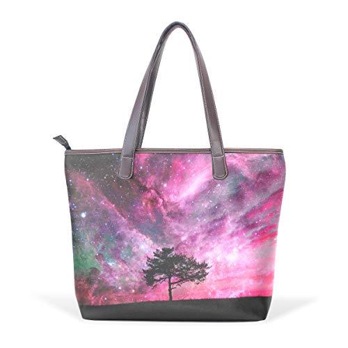XiangHeFu Damen Handtaschen Starry Tree Landscape Tote PU Leder