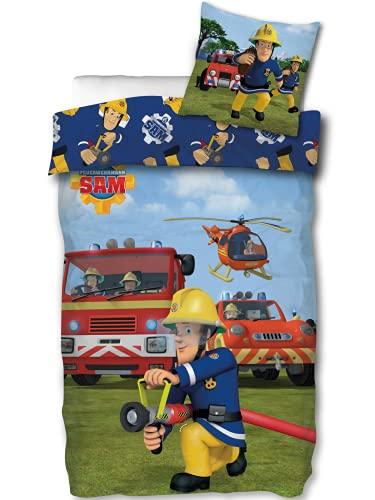 SkyBrands Feuerwehrmann Sam Bettwäsche 135x200 80x80 Kissen-Bezug Bettwäsche Feuerwehr Baumwolle Bettbezug Kinder Öko Tex Standard Deutsche Größe