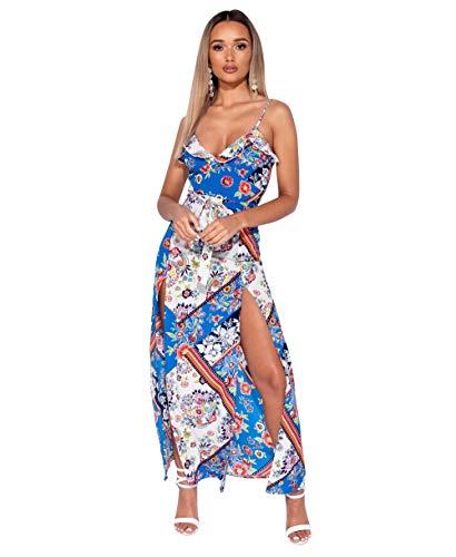 Loomiloo bloemen maxi-jurk dames zomer getailleerd zomerjurk jurk lang elegant met bloemenpatroon en gleuf