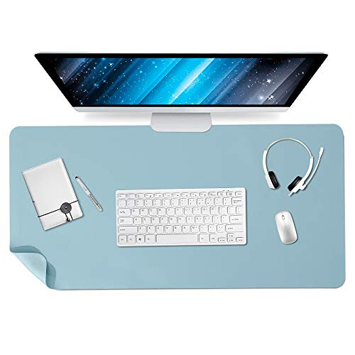 """Xymy PU Leather Desk Pad Non Slip Office Desk Mat Waterproof Desk Blotter Protector Desk Writing Mat Mouse Pad for Office and Home (Light Blue, 31.5"""" x 15.7"""")"""