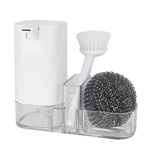 DaMohony Juego de 3 cepillos de limpieza de cocina con bola de alambre de acero para detergente para botellas y platos