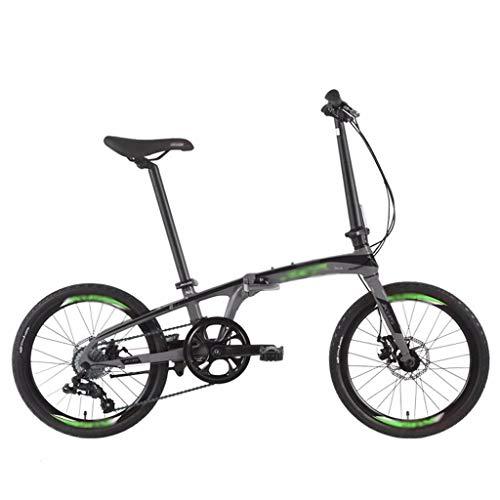 Zxb-shop Herren Damen Klapprad Faltrad Fahrrad Klapprad Mode Arbeitsweg 8-Gang-Shift-Aluminium Rahmen 20-Zoll-Rad-Durchmesser 10 Sekunden Folding Doppelscheibenbremse (Color : Black)