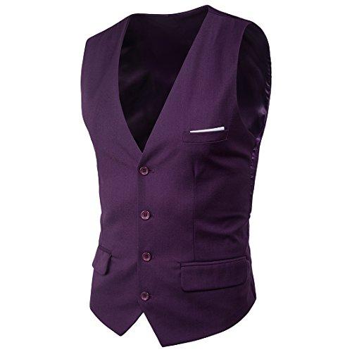 Mxssi Suit Vest New Patchwork Formale Abiti da Uomo Abiti Gilet Plus Size Moda Slim Fit Uomo Matrimonio Gilet Viola L