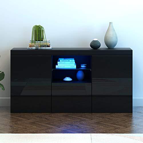 Panana Modern Hight Gloss Front LivingroomCabinet with 3 Door, RBG LED CupboardSideboardDisplay Storage TV Unit Stand (Black)