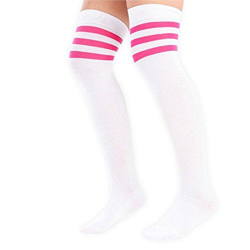 adam & eesa Damen Overknee-Strümpfe mit drei Streifen am Knie, Schiedsrichterstrümpfe, Sportstrümpfe, Kostüm-Strümpfe White with pink stripes