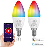 XODO Smart WiFi C37 E12 Dimmable Ceiling Fan Candle Light Bulb LB4-2PK - 5W (30W Equivalent) 350LM RGB+W - LED Multi Color, Adjustable Color Changing Smart Bulb ETL Listed 2-Pack