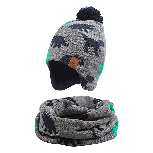 XIAOHAWANG - Sombrero de invierno para niño, niña, gorro de calentito para otoño de 0 a 7 años, Gris Dinosaurio (sombrero + bufanda), 2-4 años