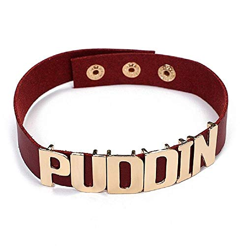 Legisdream Collar Chocker de piel burdeos con inscripción dorada Puddin joya idea regalo para cualquier ocasión