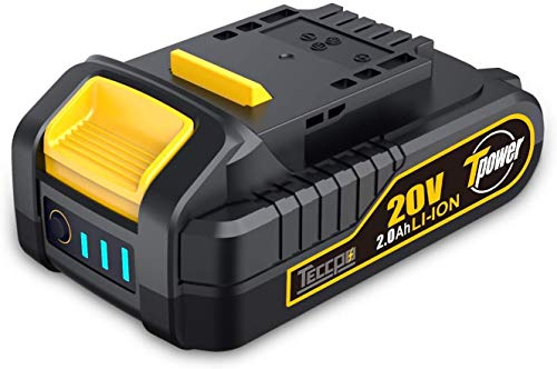 TECCPO 20V MAX 2.0 Ah Lithium Ion Battery-Pack, Rechargeable Replacement Battery, for All 20V TECCPO&POPOMAN Cordless Power Tools - TDBP02P