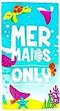 YIFONTIN Kids Beach Towels, Mermaid Tail Turtle Terry Towel,...
