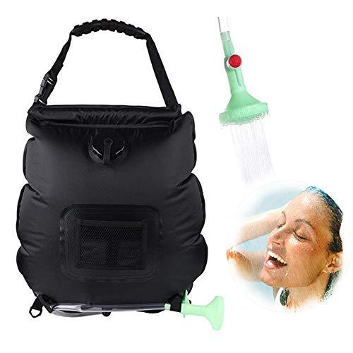 Bolsa de ducha solar para camping, ducha, 20 L, con manguera extraíble y cabezal de ducha conmutable para exteriores, viajes, senderismo, camping, higiene, color negro