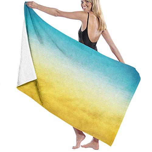 ZOMOY Toallas de baño,de Playa,Olas de Surf Amarillas y Azules Ocean Beach exótico Paisaje borroso en Tonos Degradado de ensueño,, Muy Absorbente y Suave,Apto para Yoga y Fitness