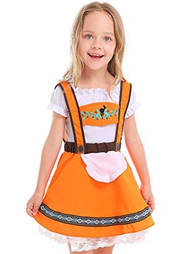 COSLAND Kids Girls' Traditional Oktoberfest Costume Dirndl Bavarian Uniform, Orange, X-Large