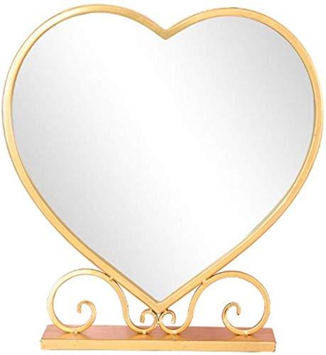 Miroir de maquillage LHY Creative Desktop Mirror Dressing Chambre Table Miroir Miroir d'or Princesse Miroir décoratif Fer Art La Mode (Color : A, Size : 11 * 34 * 58cm)