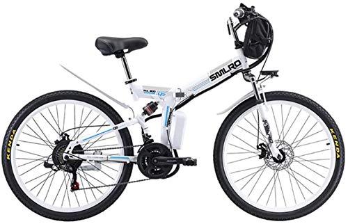 RDJM Bici electrica Eléctrica de bicicletas de montaña de 26' de pantalla E-bici plegable de la rueda LED conmuta el 21 de velocidad de bicicletas eléctricas E-bici del motor 500W, tres modos de monta