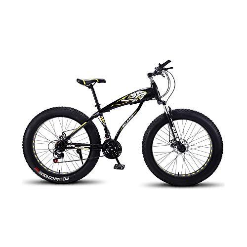 GYZLZZB Hollow Rim Cross-Country Beach Snowmobile 26' Mountain Bikes,7 Speed Bicycle,Adult Fat Tire Mountain Trail Bike,Aluminium Alloy Frame Dual Full Suspension Dual Disc Brake(Black and Yellow)