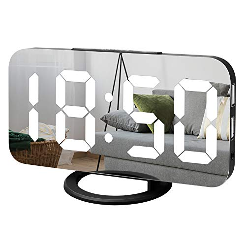 Digital Alarm Clock, Lamisola Large LED Mirror Display