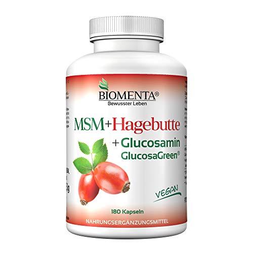 BIOMENTA MSM + Hagebuttenextrakt + Glucosamin – 180 vegane allergenfreie MSM Kapseln mit 1.200mg MSM Schwefel Pulver + 750 mg Glucosamin Sulfat + 300 mg Hagebutte Extrakt