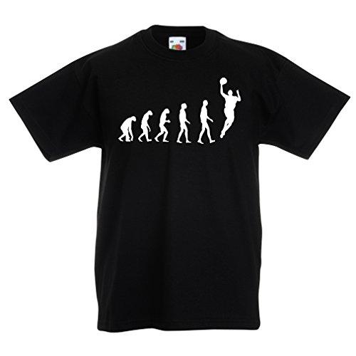 Kinder T-Shirt Evolution Basketball - Street Basket, ich Liebe Dieses Spiel, tolles Fan-Geschenk (3-4 Years Schwarz Weiß)