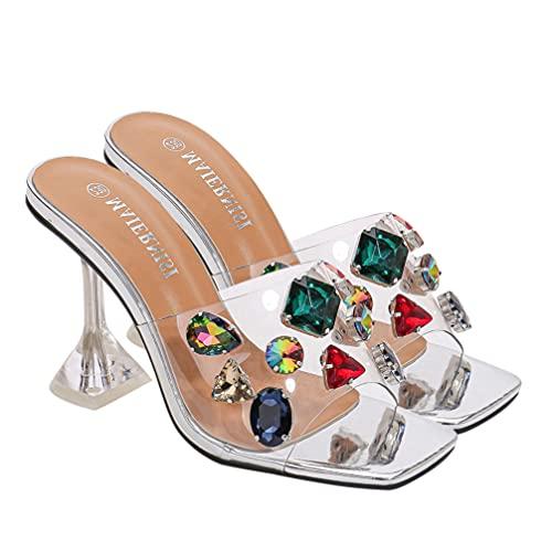 Generic Zapatillas de Tacón Alto Transparentes para Mujer Sandalias con Punta Abierta...