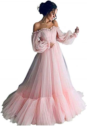 Vintage Off Shoulder Long Puffy Sleeves Ruffle Tulle Princess Prom Quinceanera Dresses for Womenen Pink US2