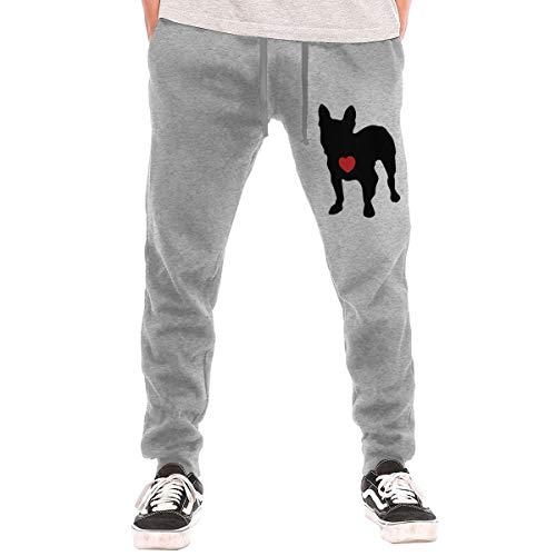 TXL&BEAUTY My Heart French Bulldog Men's Active Sport Lounge Sweat Pants with Pockets Gray