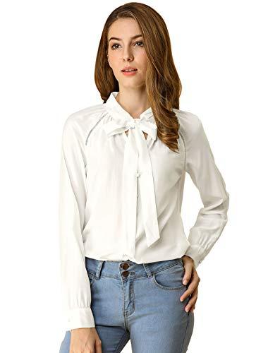 Allegra K Camisa Casual con Botones Manga Larga Corbata De Lazo para Mujer