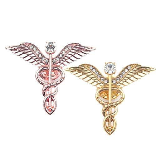 PRETYZOOM Broche de caduceo con emblema médico, joyas de aleación, para mamá, día de la madre, enfermera, doctor de graduación, regalo de cumpleaños, 2 unidades (oro + oro rosa)