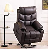 Grepatio Power Lift Recliner Chair Sofa, Electric Recliner with Massage and Heat for Elderly, Remote Control, USB Port, 2 Cup Holders, 3 Positions and 2 Side Pockets