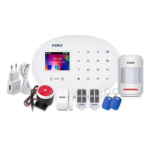 KERUI W20 Sistema Alarma Hogar gsm/WiFi sin cuotas Control por App/Call/SMS/Tarjeta RFID, Kit Alarma Casa Seguridad DIY con Detector/Sensor Movimiento de Alarma Puerta Inalámbrico para Tienda/Oficina