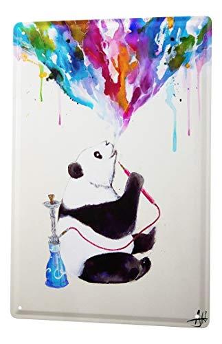 LEotiE SINCE 2004 Blechschild Metallschilder Wandschild Blech Poster Kinderzimmer Panda Bär Shisha
