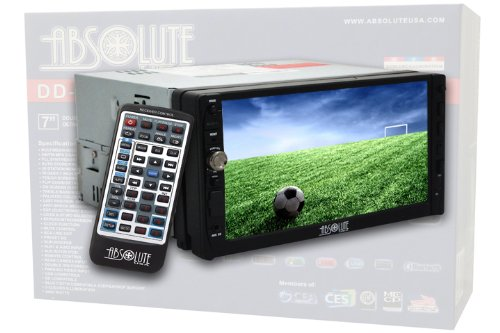 Absolute DD-3000AT 7-Inch Double Din Multimedia DVD Player Receiver with Touch Screen System Display and Detachable Front Panel Built-in Analog TV Tuner with SD/USB Slot
