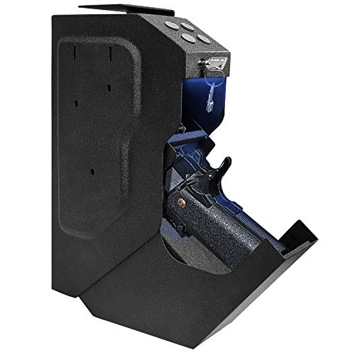 Gun Safe Quick Access Handgun Firearm Safes for Pistols Drop Down Single Gun Safety for Nightstand Wall Mount Bedside Desk Vehicle Bed Personal Safe with Keypad Lock and Key Lock