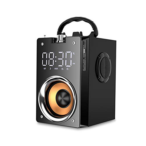 HFGH Tarjeta de Altavoz Bluetooth de Alta Potencia bajo estupendo del Altavoz subwoofer Reloj de Altavoces para PC Soporte de micrófono AUX TF FM Radio Columna Box