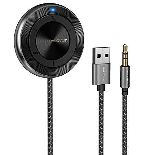 PALOVUE Bluetooth 5.0-Empfänger, Wireless Car Kit für Musik-Streaming und Freisprechen für Auto- / Heim-Stereoanlage mit 3,5-mm-Aux-Anschluss, kein Aufladen erforderlich (HiFi)