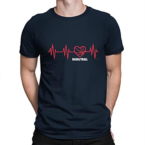 FENGBIN Camiseta del algodón del Latido del corazón del Baloncesto, Camiseta Unisex del algodón del Baloncesto