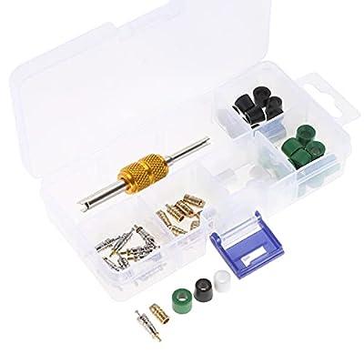 HZ-MONSTAR A/C Air Conditioning Valve Core Accessories R22 R410 Refrigeration Valve Core/Hose Gaskets/Valve/Remover Installer Tool Assortment Kit 51PCS
