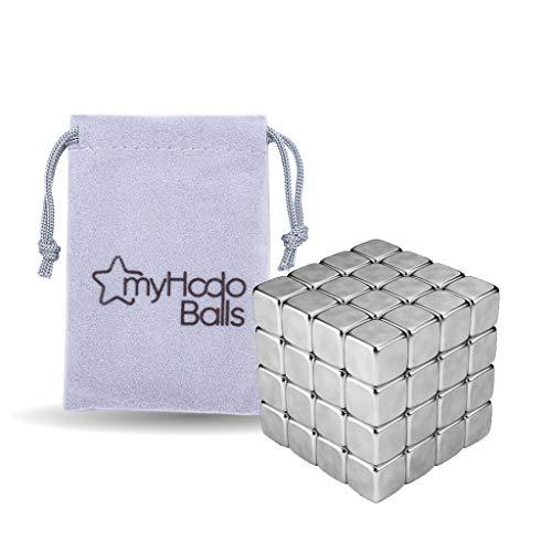 Cubos Magnéticos Antiestrés myHodo, Artefacto Tecnológico Novedoso de Oficina, 64 Imanes Pequeños extra Fuertes de 5 mm, el Regalo ideal, Cubo Magnético para Tableros Magnéticos y Neveras