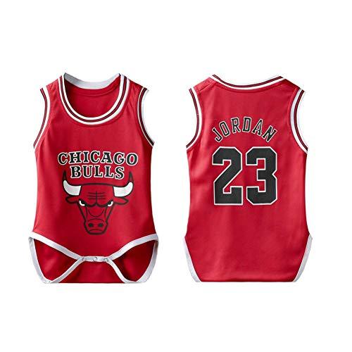 PAOFU-Baby NBA Body Chicago Bulls Jordan # 23 Fans Mouwen Basketball Jerseys Jumpsuit Voor Baby Boy Girl,Red,12~18 months