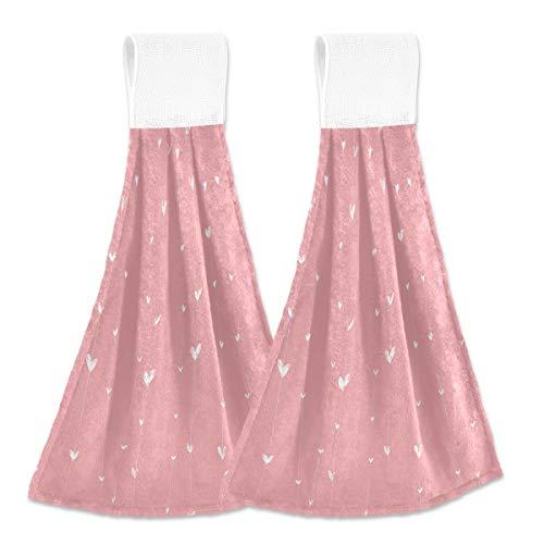 Toallas de cocina colgantes de 2 piezas, diseño de corazones rosados para colgar, de terciopelo coral suave, superabsorbentes, toallas de mano para oficina
